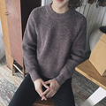Discount Men 's sweater new winter solid warm round neck sweater wild cardigan thick sweater men colthing