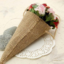 Hessian Pew Cone Flower Holder pack of 24 Birthday Party Baby Shower Anniversary Wedding Party Burlap DIY Table Decorations