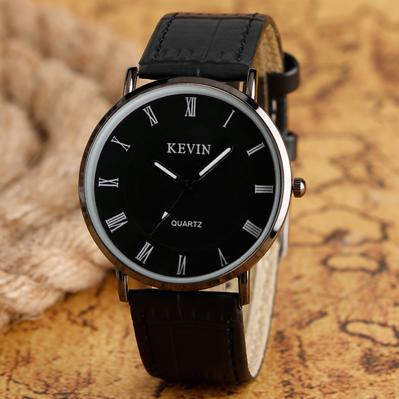 Luxury Brand Simple Black Dial Leather Band Strap Quartz Wrist Watch Casual Fashion Roman Numbers Men Women Watches For Gift nature wood simple men bamboo watch cool casual genuine leather band strap wrist watches quartz women gift relogio masculino