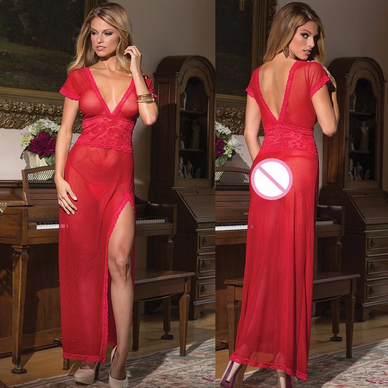 2017 Lingerie Sexy Hot Erotic Women Nightwear Sleepwear Black/Red/White Sexy Long NightGowns See Through Sheer Mesh Night Dress