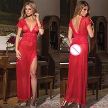2017 Lingerie Sexy Hot Erotic Women Nightwear Sleepwear Black Red White Sexy Long NightGowns See Through
