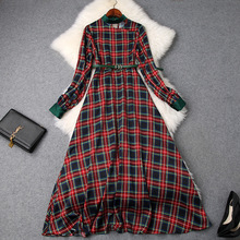 Midi Dress Elegant Women 2019 Early Spring New Small Stand Collar Hollow Out Lantern Sleeved High Waist Slim Belted Plaid Dress long sleeved dress women 2019 spring summer new simple stripes turn down collar slim a line casual elegant dress midi s xl