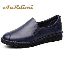 AARDIMI/Женская обувь на плоской подошве из натуральной кожи; Повседневная офисная кожаная обувь; сезон весна-осень; однотонная женская обувь на низком каблуке с круглым носком без застежки