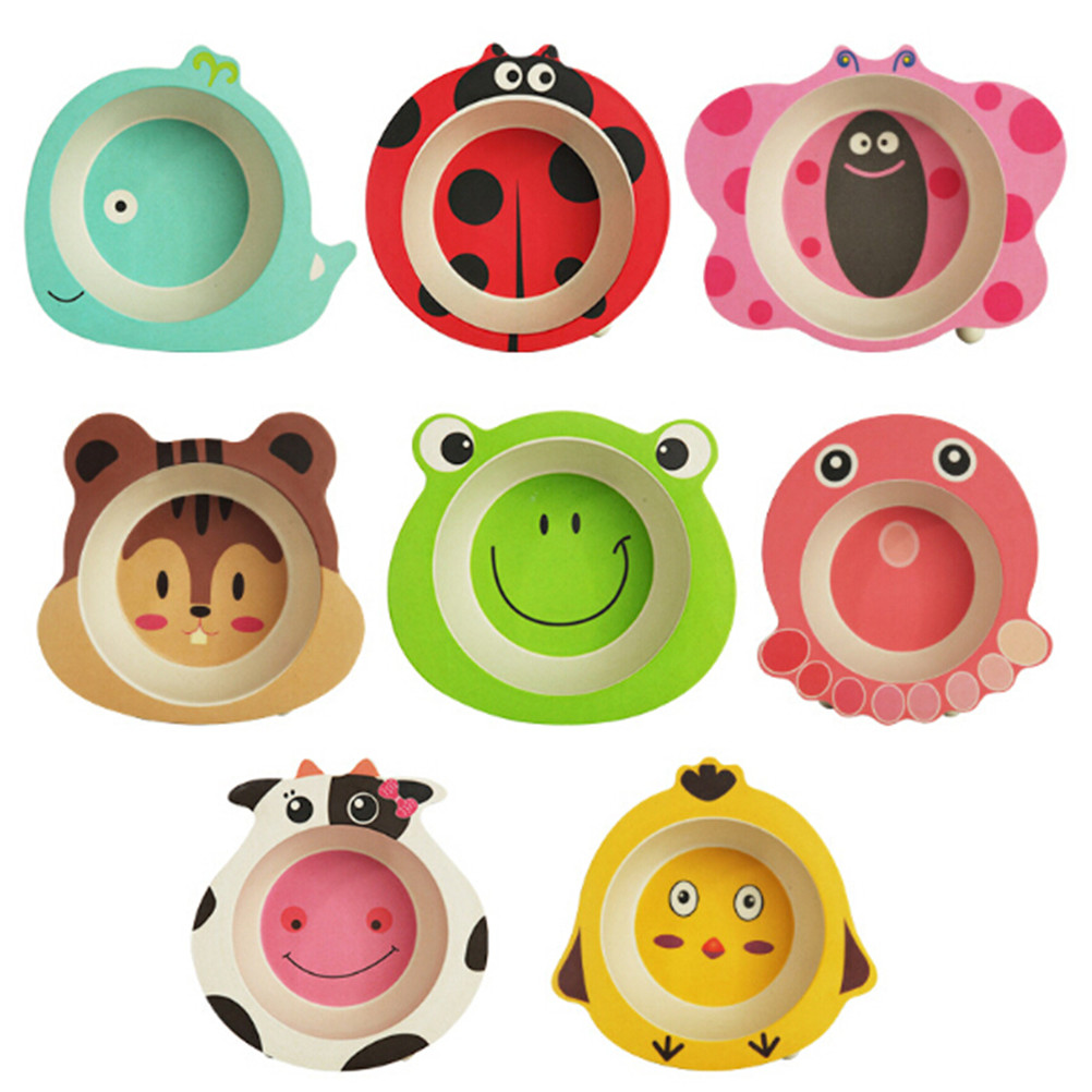 Baby Bowl Cute Cartoon Tableware Feeding Plate <font><b>Bamboo</b></font> Fiber <font><b>Kids</b></font> Dishes Cutlery image