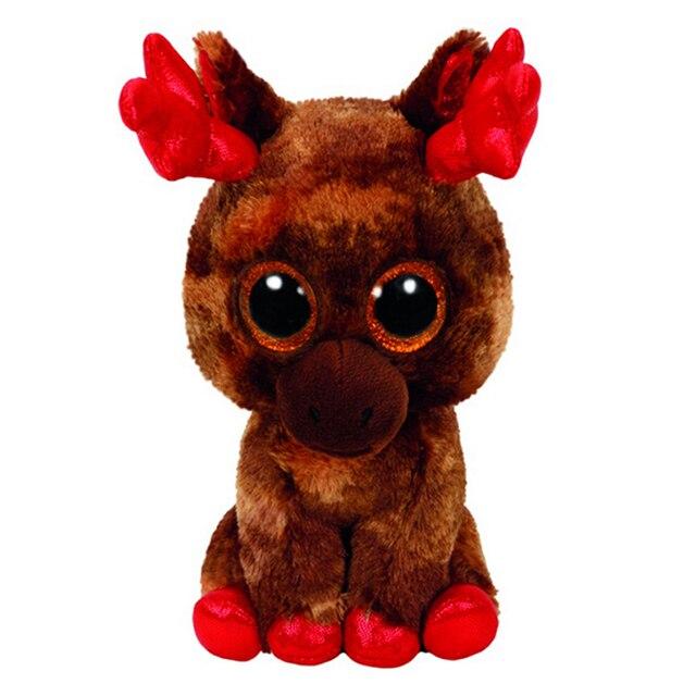 """6 """"TY Boo Gorro de BORDO o Alce 15 centímetros Big Glitter Eye Plush Stuffed Animal Collectible Toy Natal presente Para As Crianças"""