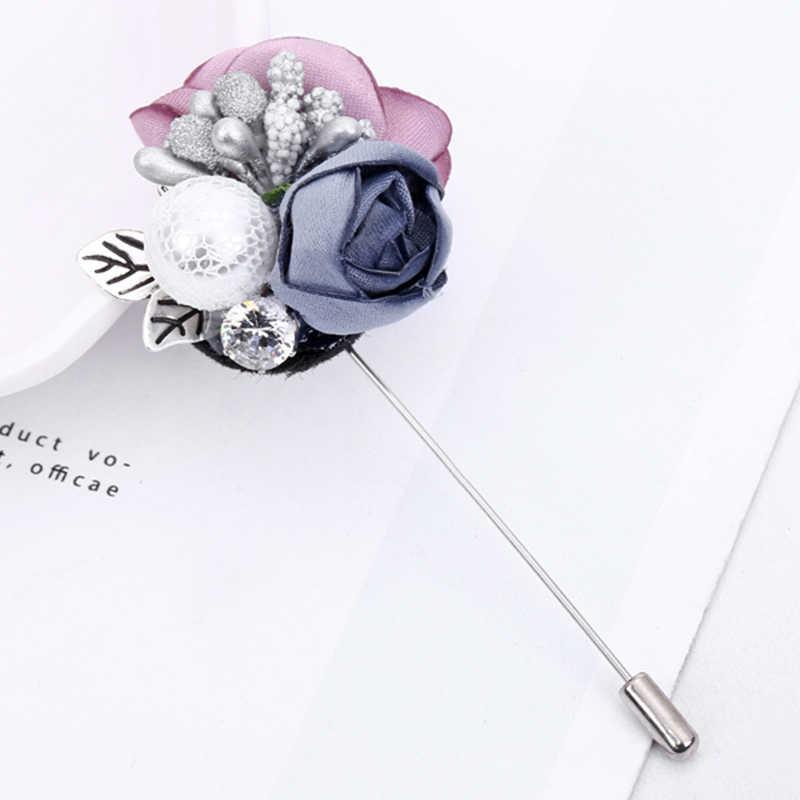Yaologe Warna-warni Bunga Pin Bros untuk Wanita Aksesoris Imitasi Mutiara Fashion Korsase Vintage Pernyataan Perhiasan Hadiah Ulang Tahun
