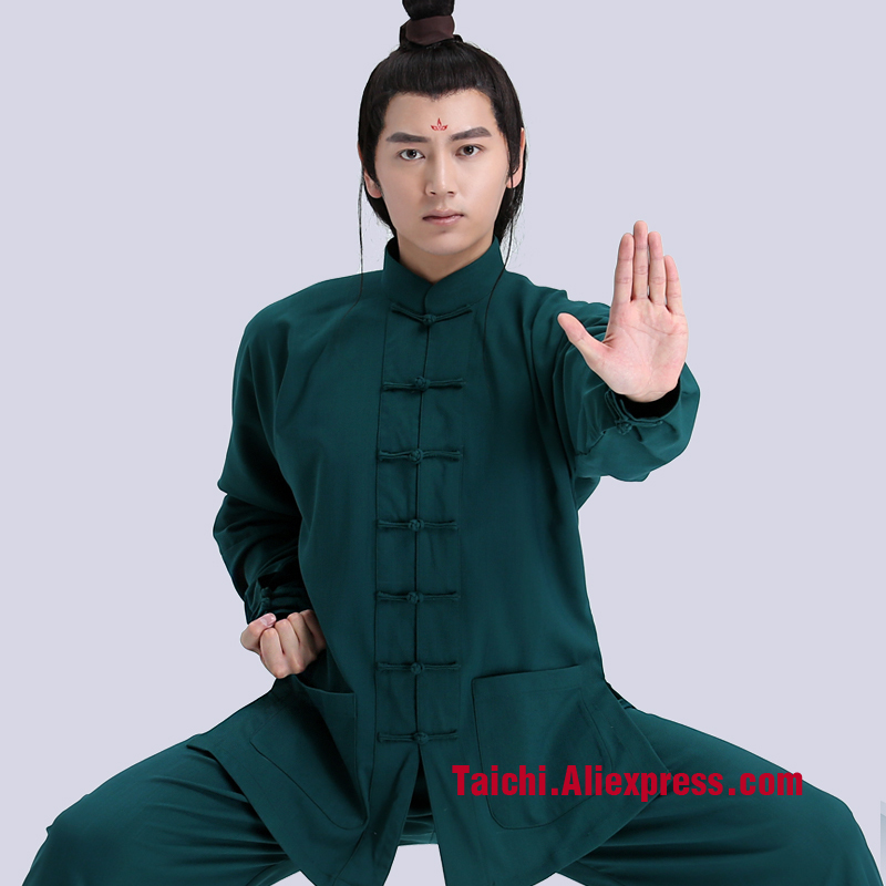 Flax Tai Chi Clothes Woman And Men Kung Fu Martial Art Suit Chinese Stly Sportswear Green Black Orange Pink White