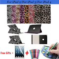 Leopard Leather Case for iPad 3 360 Rotating Protective Cover for iPad 4 Case Stand Holder Cover for iPad 2 Case 9.7 inch