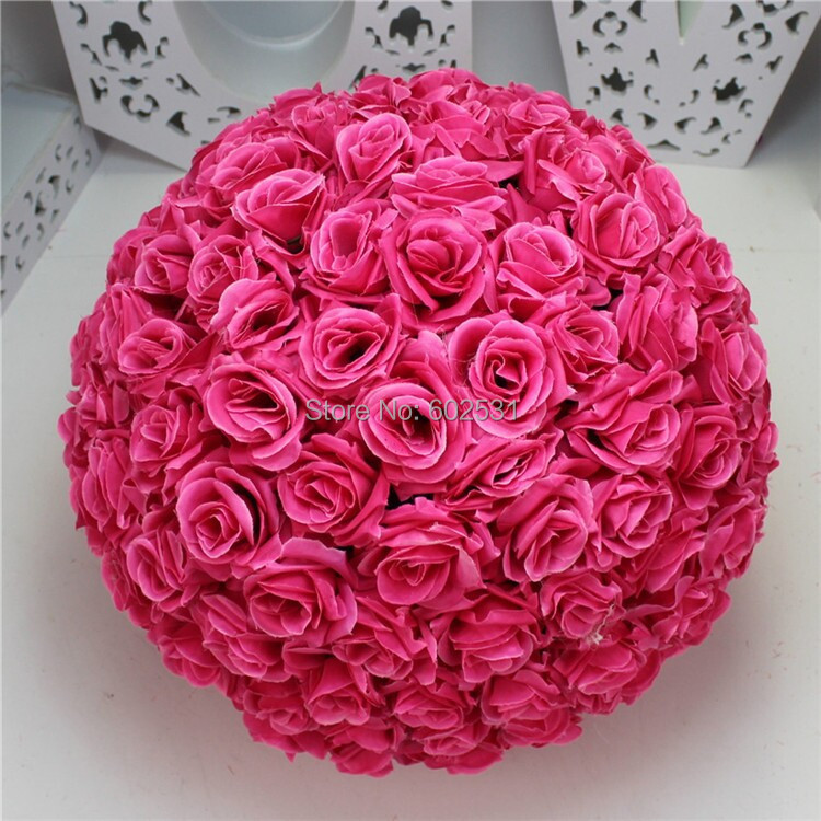 Free Shipping-HOT PINK Wedding & Valentines day & Home decorations Silk Kissing Pomander rose Flowers BallsFree Shipping-HOT PINK Wedding & Valentines day & Home decorations Silk Kissing Pomander rose Flowers Balls