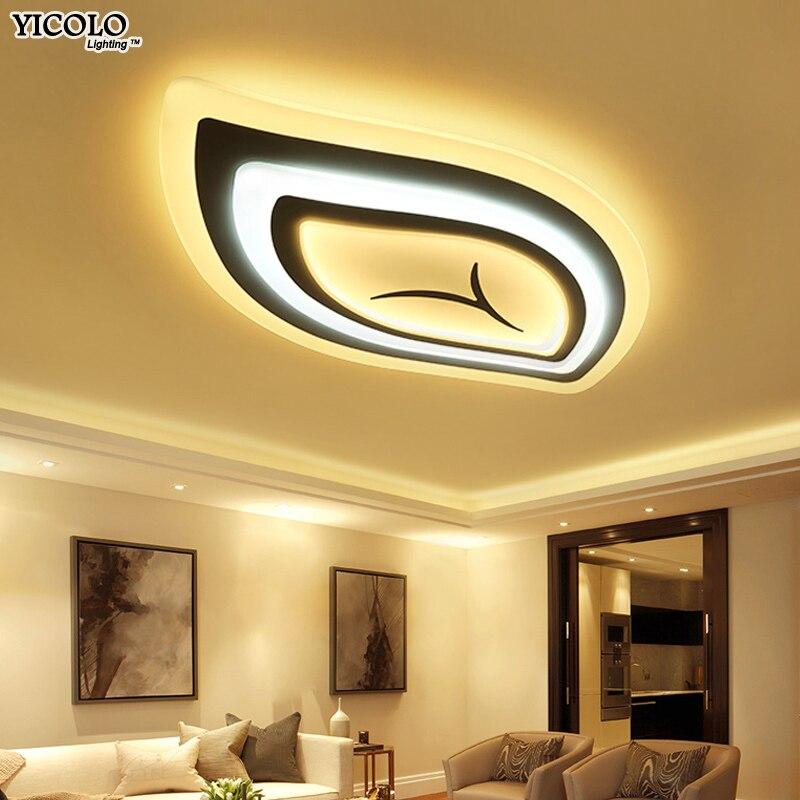 Moderne Led Plafond Lumières télécommande Pour Salon Luminaire feuille forme lamparas de techo abajur