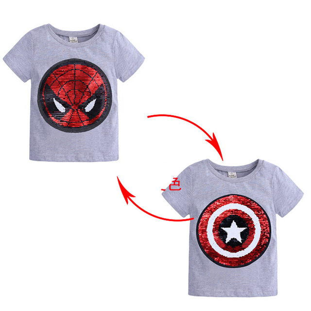Changing Color Spiderman Captain America Switchable Sequins Boys T-shirts Kid Fashion T Shirt Children Tops Clothes Summer 1-8Y