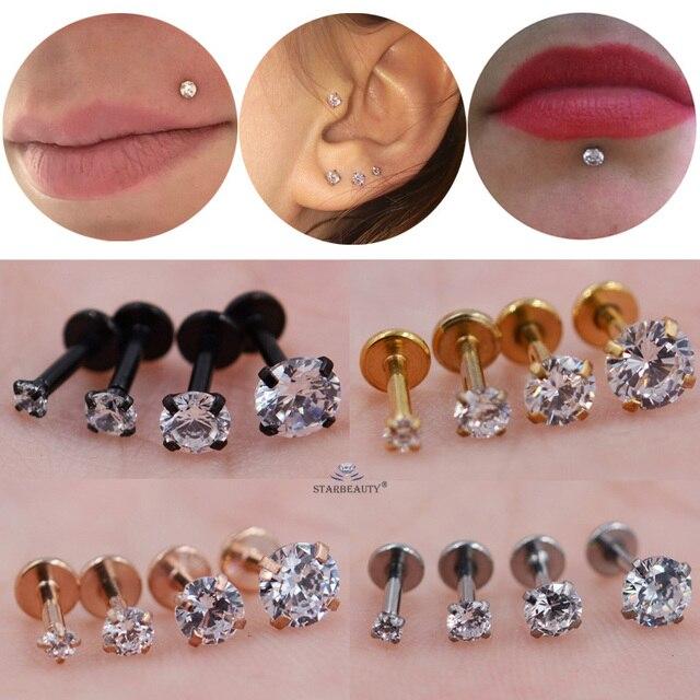4pcs 1.2x6mm 16G Round Clear Stone Tragus Piercing Labret Ear Piercing Lip Nose Piercing Oreja Nose Ring Titanium Helix Earrings