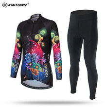 XINTOWN Breathable Long Sleeve Cycling Jersey Set MTB Bike Clothing Bicycle Jerseys Clothes F Maillot Ropa Ciclismo