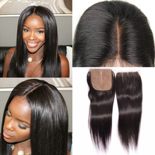 Brazilian Straight Silk Base Closure 4×4 Inch Natural Color 100% Virgin Human Hair Free Middle Part S Closure With Baby Hair