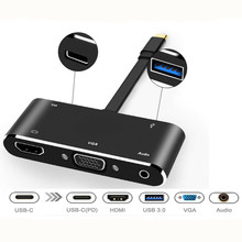 купить USB-C Type C to HDMI VGA Adapter usb c hub Cable Support Display Simultaneously Multiport Converter for Macbook pro Samsung дешево