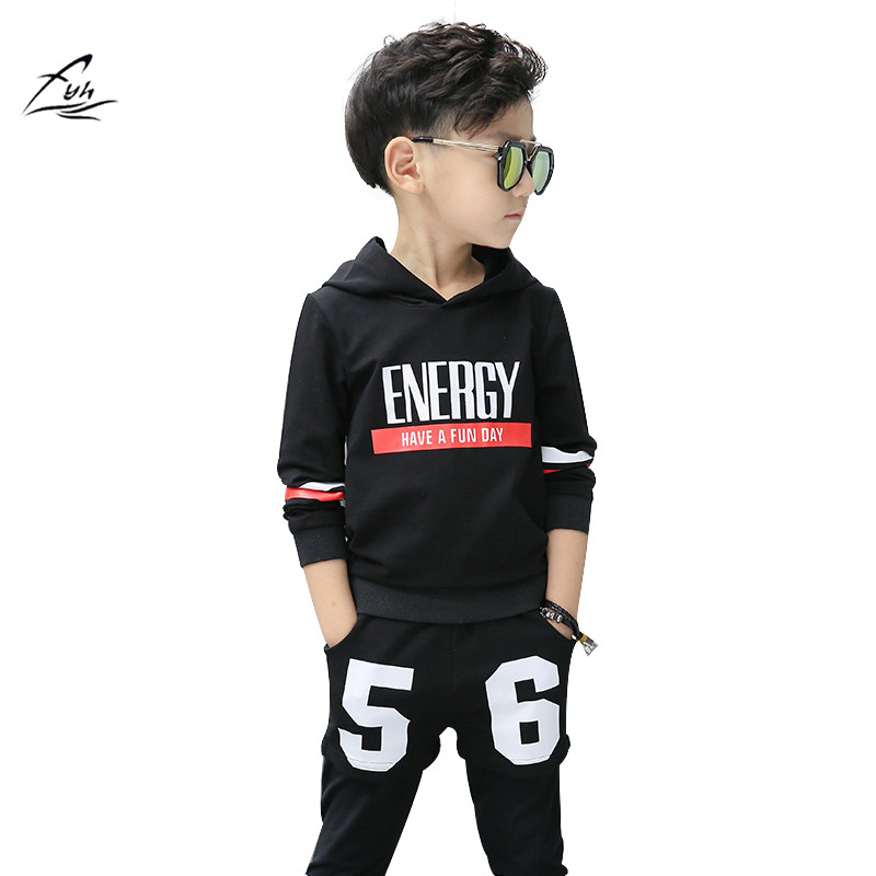 FYH Boys Long Sleeve Sports Set School Boys Casual Printed Suit Hooded Sweatshirt+Pants Kids Autumn Clothes Children Tracksuit kids hip hop clothing autumn new boys kids suit children tracksuit boys long shirt pants sweatshirt casual clothes 2 color