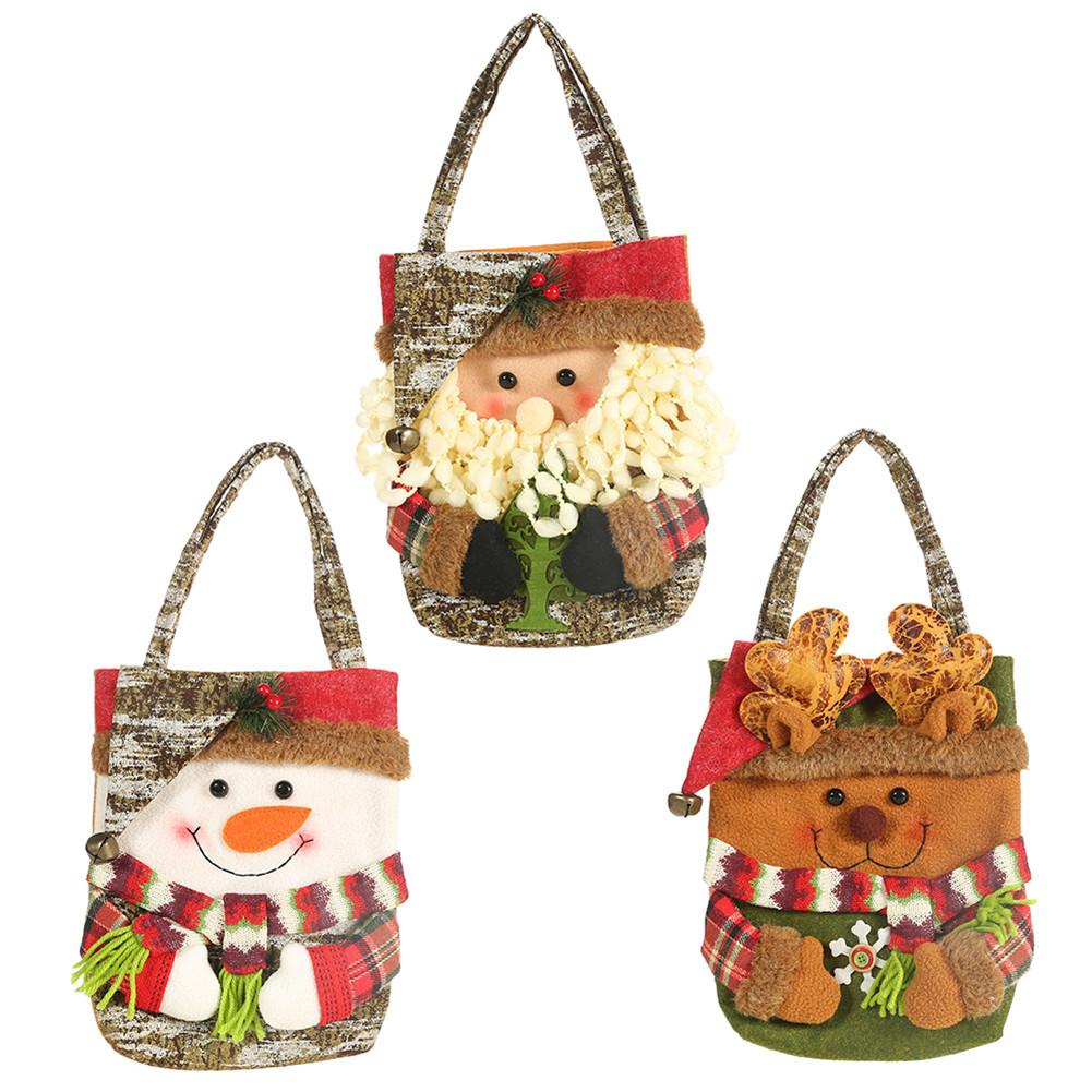 Cute Christmas Storage Bag Santa Snowman Elk Bear Candy Apple Gift Bag Holiday Supplies Party Home Decorations Packs Accessories