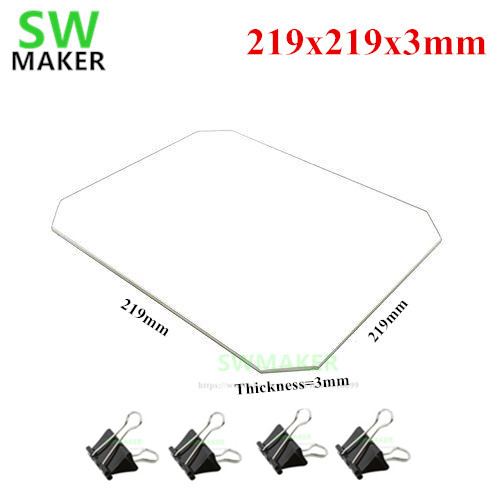 SWMAKER 219x219x3mm Borosilicate Glass Plate With  Bed Clips For Wanhao Duplicator I3 Anet A8 A6 MP Maker Select 3D Printers