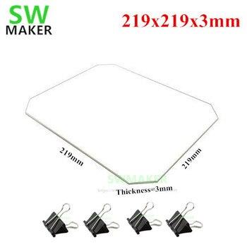 SWMAKER 219x219x3 мм боросиликатное стекло пластина с зажимами кровати для Wanhao Дубликатор i3 Anet A8 A6 MP Maker выбор 3D принтеров