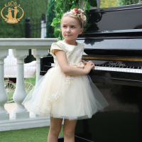 Nimble Girls Princess Dress Cute Embroidery Flower Wear Knee Length Bow Champagne Ball Gown