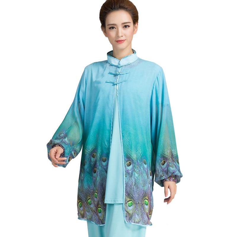 2 Colors Women Tai Chi Suitscape Kung Fu Uniform Martial Arts Tai Chi Clothing Ladies Tai Ji Suit With Chiffon Veil