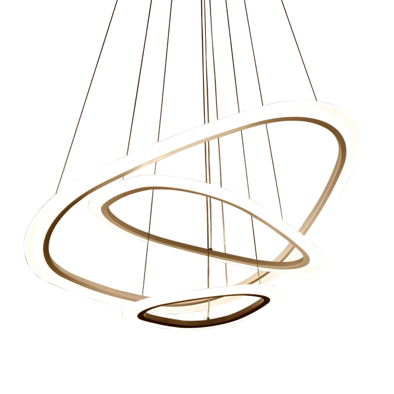 avize modern LED chandelier loft illumination nordic suspension luminaire 4/3/2/1 Circle Rings acrylic LED Lighting ceiling Lamp