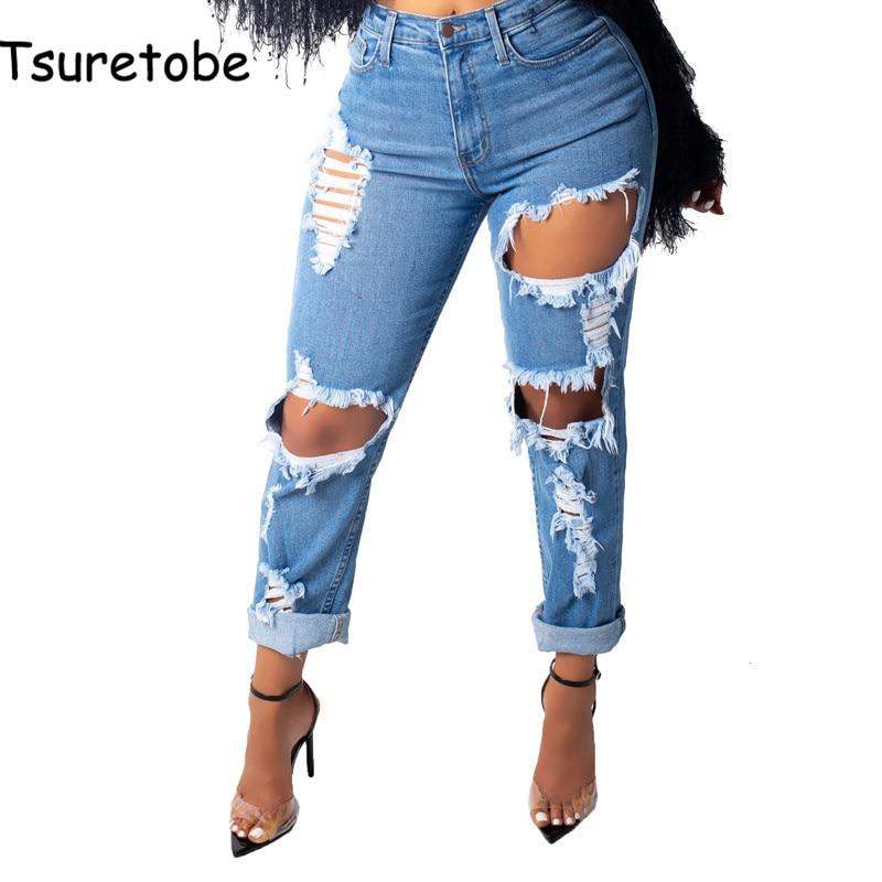 Tsuretobe Casual Mid Waist Denim Pants Women Fashion Blue   Jean   Pencil Pants Ladies High Quality Slim Hole   Jean   Trousers Female