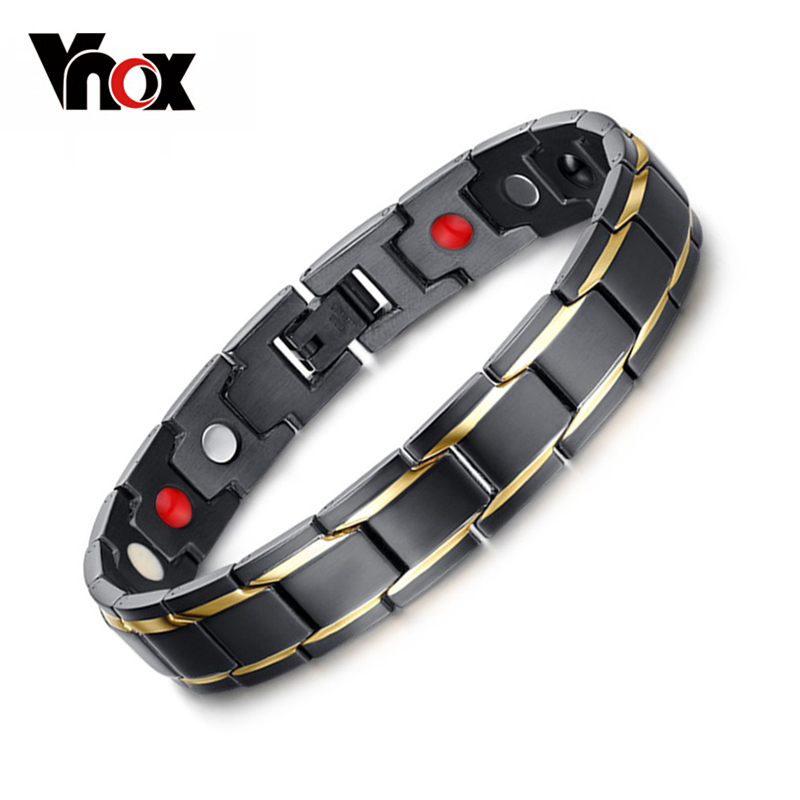 Vnox Health Energy Bracelet Bangle for Men Stainless Steel Bio Magnetic Male Gift Black Color Adjustable