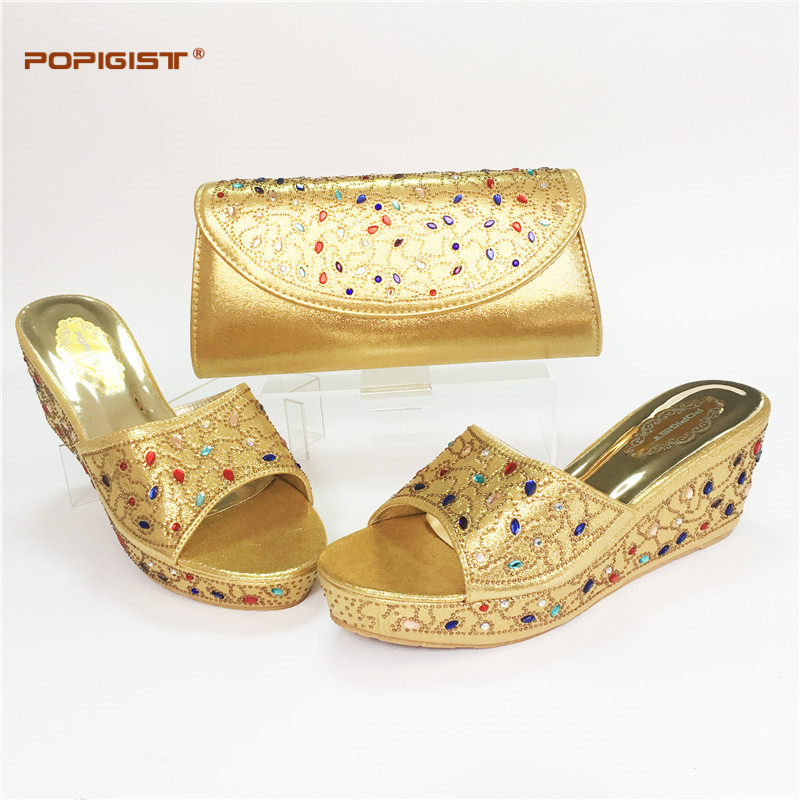 Gold Color Italian Desgin Elgent Shoes And Bag Set New Fashion Ladies Super  High Heel Shoes