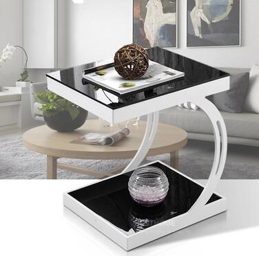 Modern toughened glass small tea table black white corner several sofa edge a few small door model small side table.. toughened glass phone corner sofa a few little sitting room tea table