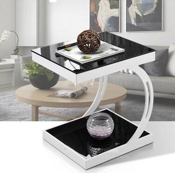 Modern toughened glass small tea table black white corner several sofa edge a few small door model small side table.. toughened glass tea table stainless steel small square table the sofa side table flower
