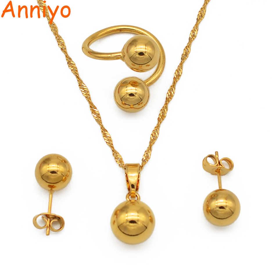 Anniyo חרוז שרשרת עגילי טבעת לנשים/בנות, טרנדי קסם עגול כדור תכשיטי סטים אפריקאי, הסעודית, ניגריה מתנות #067306