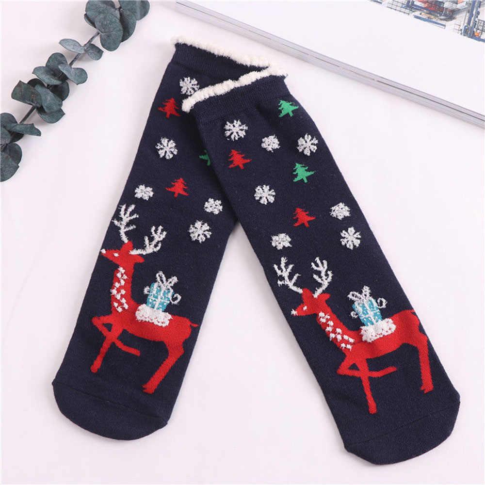 คุณภาพสูงผู้หญิงถุงเท้าคริสต์มาสสไตล์ฤดูหนาวฝ้ายอบอุ่นถุงเท้าสำหรับสาวคริสต์มาสของขวัญจัดส่งฟรี