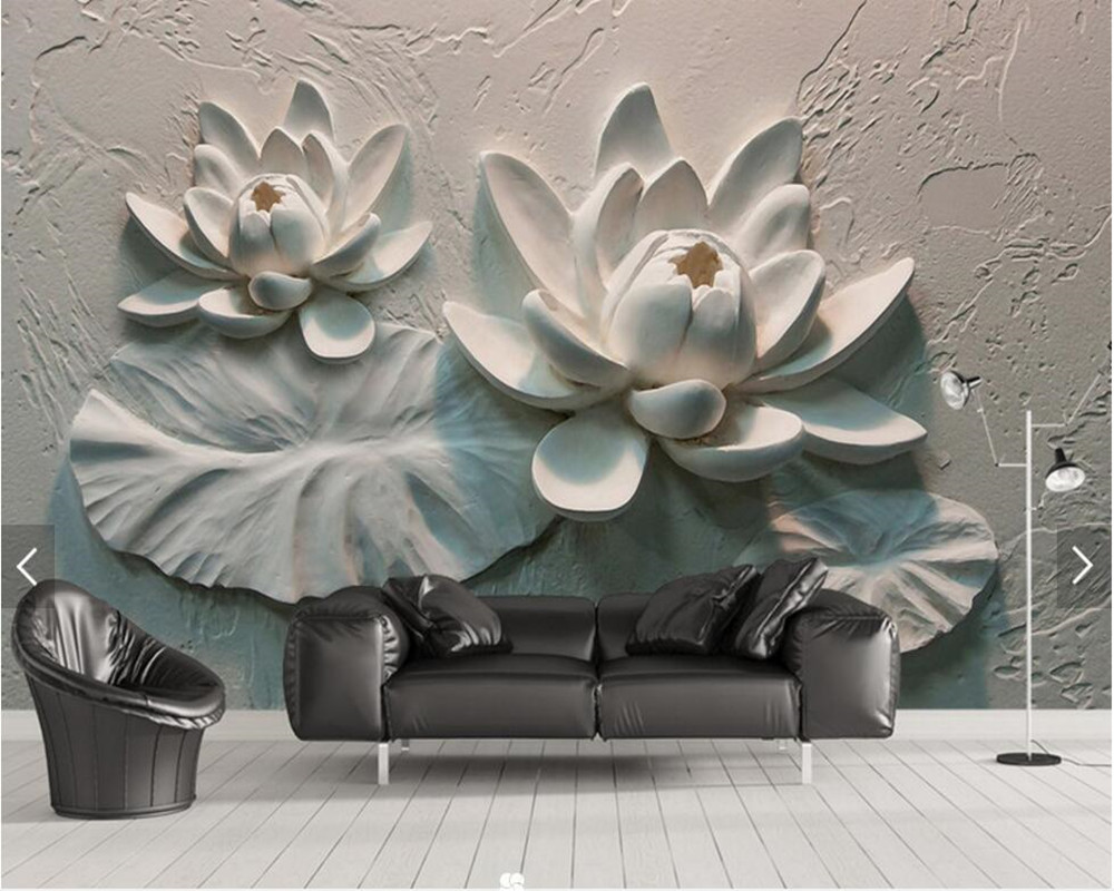 Custom 3D embossed wallpaper, lotus cement wall background mural for living room bedroom TV background wallpaper spring abundant flowers rich large mural wallpaper living room bedroom wallpaper painting tv background wall 3d wallpaper