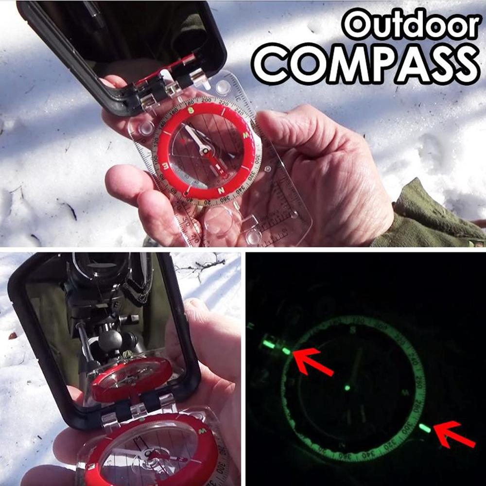 Boating Impact Resistant and Waterproof |Sighting Navigation Compasses for Hiking Boy Scout Blingdots Multi-Functional Outdoor Luminous Compass with LED Light Camping Motoring