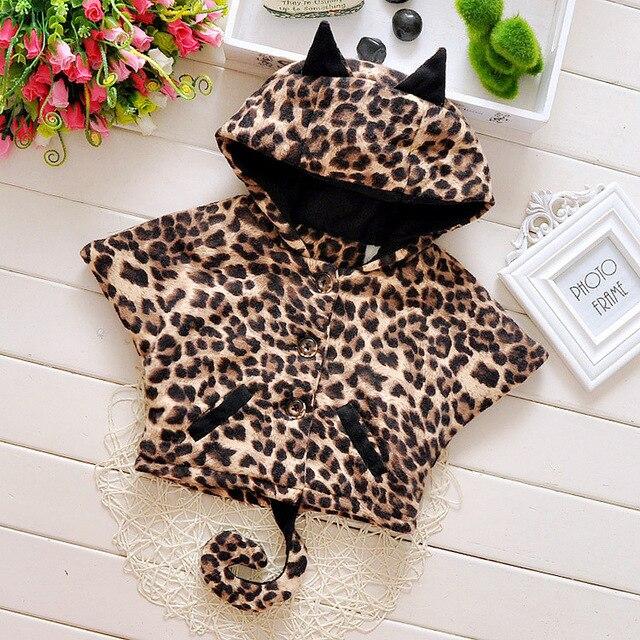 2015 новый осень зима милые животные печать девочки пальто плюс бархат теплая мультяшном стиле младенцы мыс костюм 0 ~ 2 лет мальчики шаль