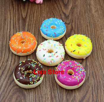 Free DHL 100pcs 5*2cm Cream Sprinkle Soft Mini Donut Squishy Slow Rising Cone Squishy Phone Straps Bread Scented Charm Kids Toys