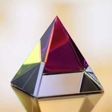 "Energy Healing Feng Shui Paperweight 3.5"" Crystal Pyramid Home Decor"