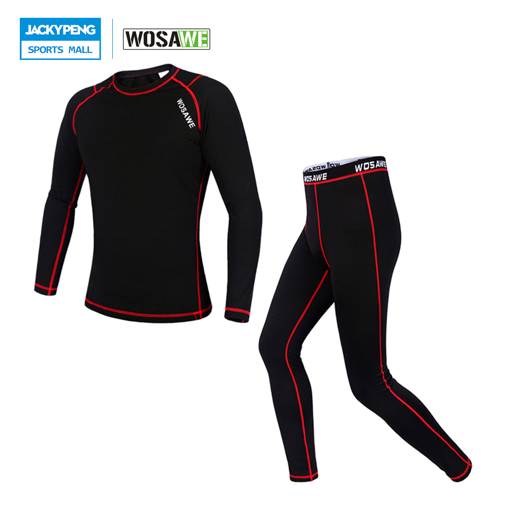 WOSAWE Compression Base Layer Outdoor Sports Jersey Tights & Pants Suit Cycling Running Fitness Workout Gym Clothing Long Johns wosawe cycling coat bike bicycle cycle clothing long jersey jacket wind tights pants whirlwind waterproof cycling jersey 2017