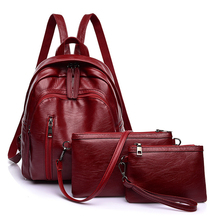 New Womans Fashion Simple PU 3pcs/Set Ladies Backpack Waterproof Female Back Pack School Clutch Girl Travel Packbag