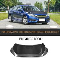 R Styling Carbon Fiber Racing Engine Bonnets Hood Cover For Honda Civic 2016 2017