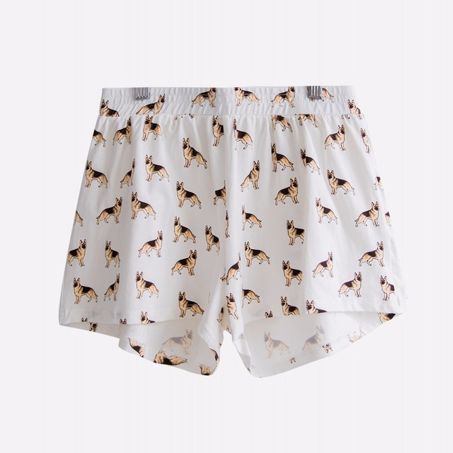 2017 Women's Cute German Shepherd Cartoon Print Casual Shorts Loose Fit White Elastic Waist Stretchy Cotton Plus Size B7N901J