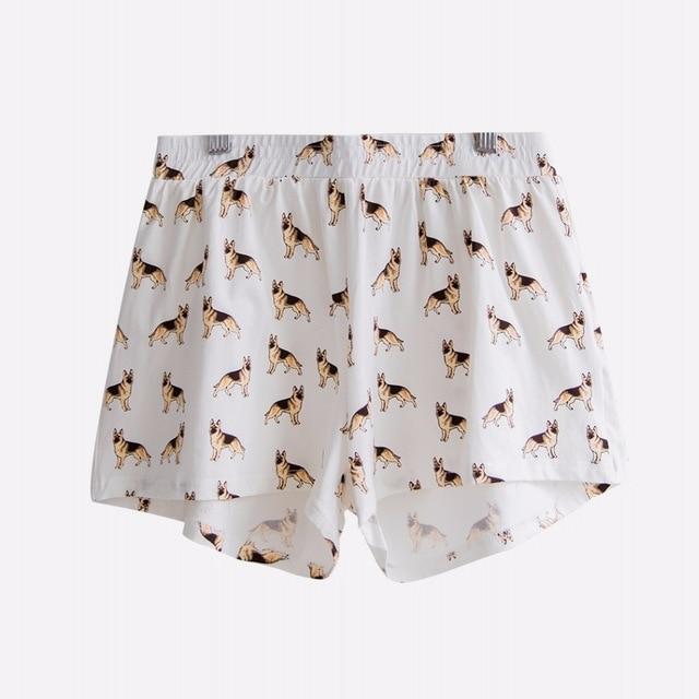Women\'S Cute German Shepherd Cartoon Print Casual Shorts Loose Fit White Elastic Waist Stretchy Cotton Plus Size B7N901J