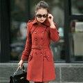 L-5XL Plus Size Women Coats Medium-long Double Breasted Winter Wool Coat Outerwear Black Ladies Trench Women Woolen Overcoat