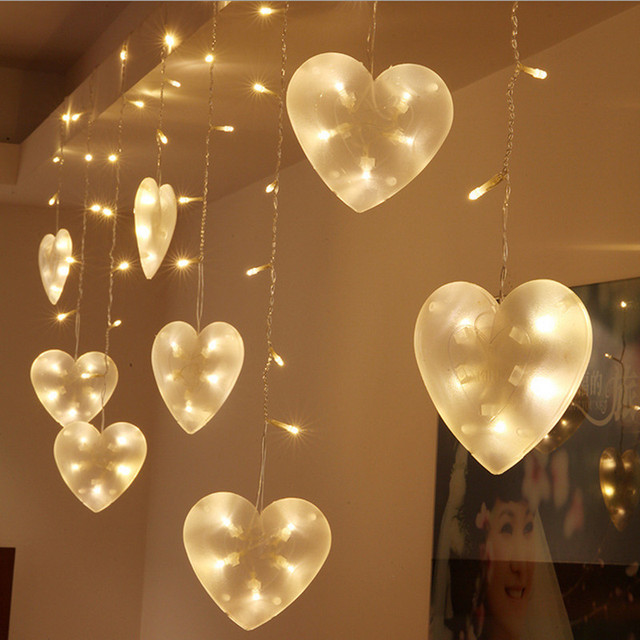 Marriage Room Decoration Supplies Gemini Led Heart Shaped Modeling Lantern String Love Ice Bar Lights