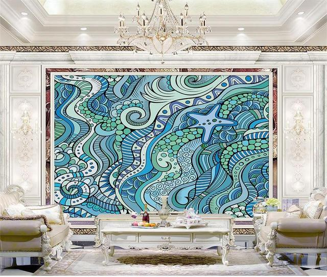 kundenspezifische wandbilder foto 3d tapete blauen ozean streifen retro norwegen malerei 3d wand zimmer tapetenmuster - Tapeten Muster