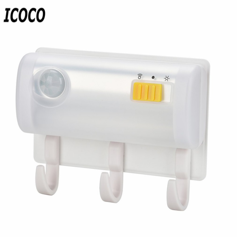 ICOCO Magnetic Suction Sensor Light Wall Mount Hook Multifunctional Infrared Induction Motion Detector Night LED Night Light New