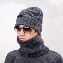 Knit Men Winter Hats for Knitting Keep Warm Beanies Hat Mens skullies velvet Beanie Bonnet Scarf Male