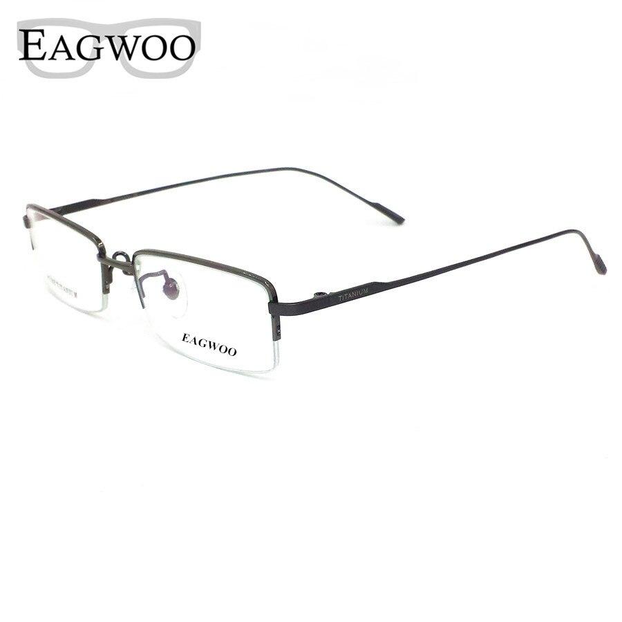 2d4a32b5a468d Óculos De Titânio puro Metade Aro Prescrição Frame Ótico Templo Espetáculo  Óculos Sem Armação Para óculos Homens Olho 11952 Fino
