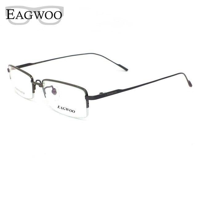 56026102f7c7 Pure Titanium Eyeglasses Half Rim Optical Frame Prescription Spectacle  Frameless Glasses For Men Eye glasses 11952 Slim Temple